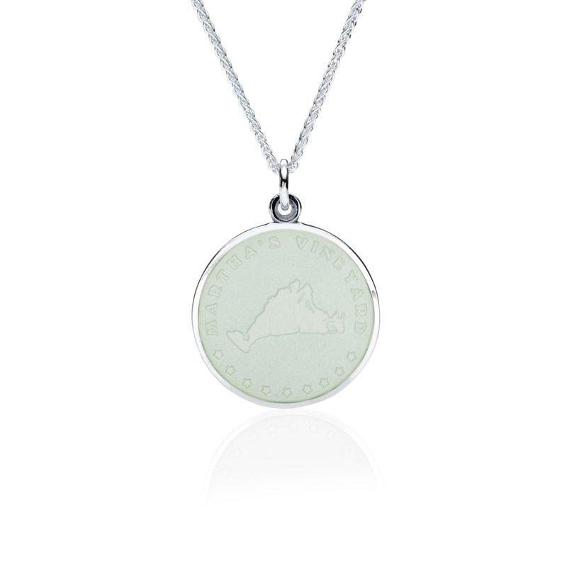 Martha's Vineyard white enamel pendant