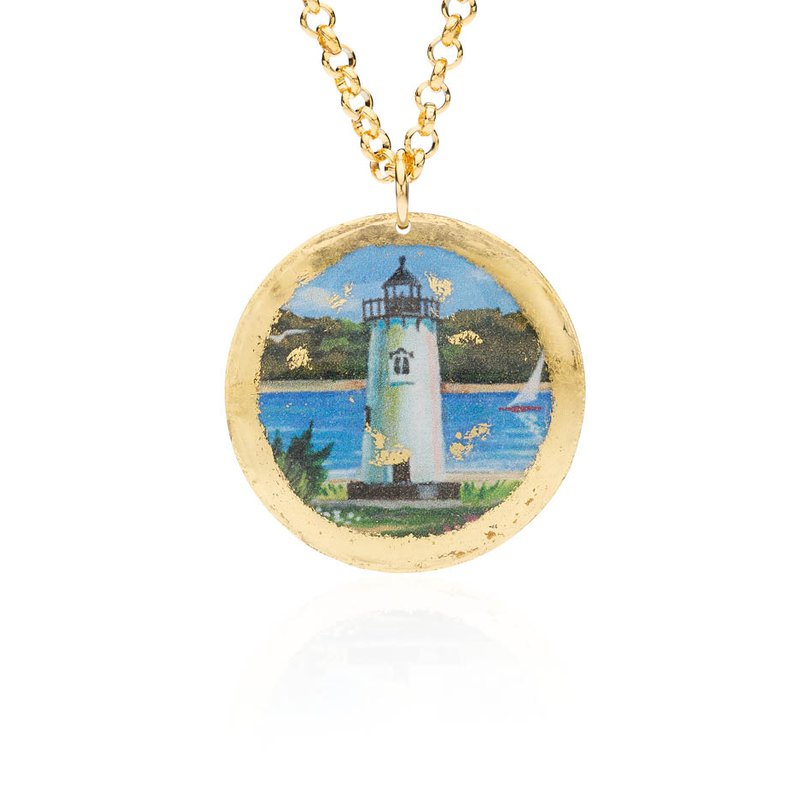 Edgartown Lighthouse necklace featuring the artwork of Margot Datz