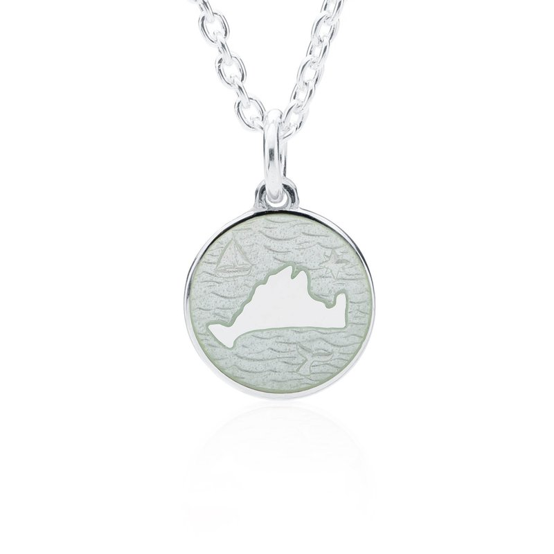 """Out at Sea"" White Enamel Martha's Vineyard Pendant"