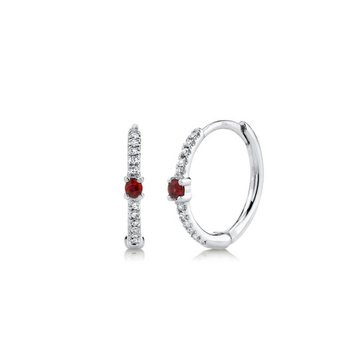 Ruby and Diamond Huggie Earrings