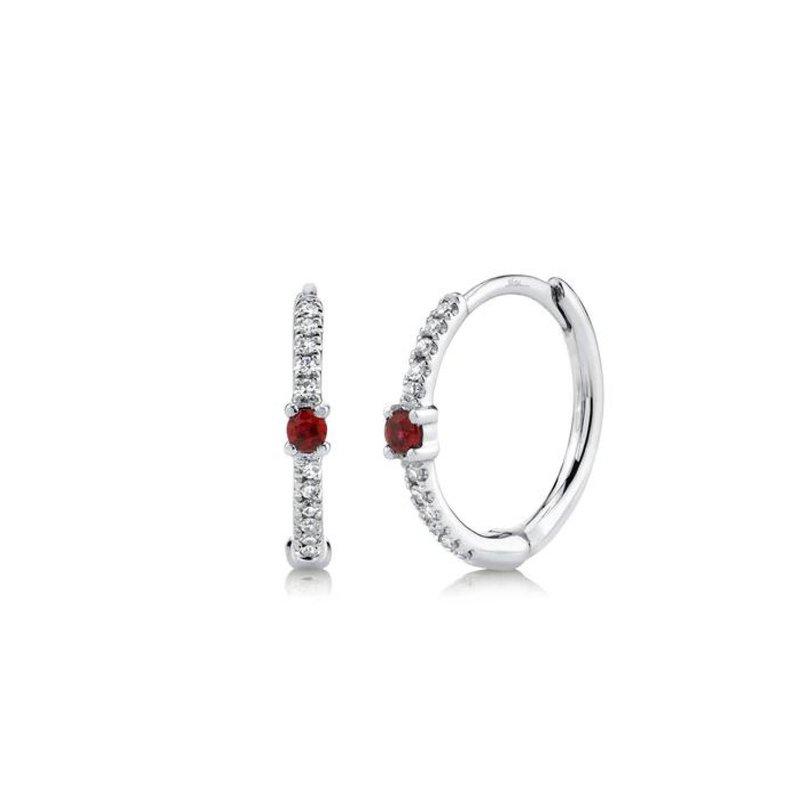 Ruby and Diamond Huggie Earrings