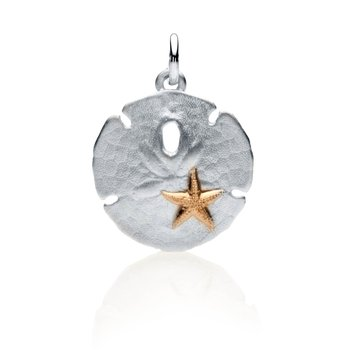 Sand Dollar charm with 14k gold starfish