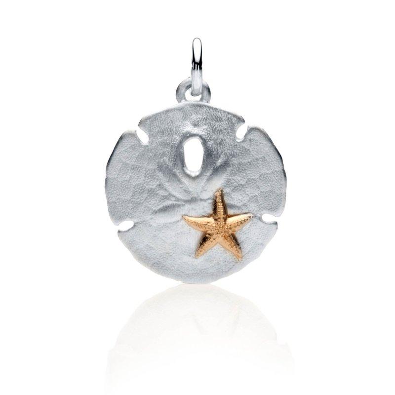 Sand Dollar charm with 14k gold starfish