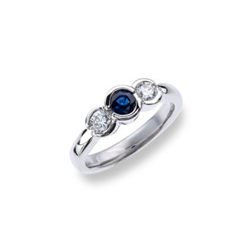 Sapphire and Diamond Bezel Set three stone ring