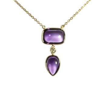 Cabochon Amethyst and Diamond Necklace