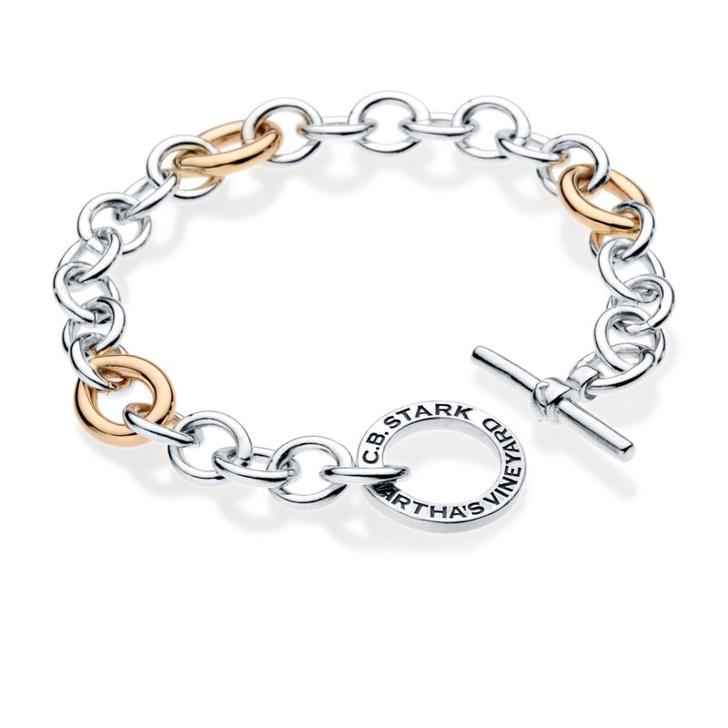 CB Stark Signature Toggle charm bracelet with 14k gold links