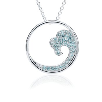 Blue Topaz Large Wave pendant