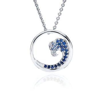 Sapphire Wave pendant in white gold