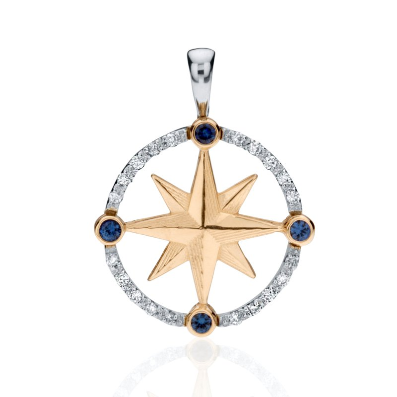 Compass Rose pendant with Diamonds and Sapphires