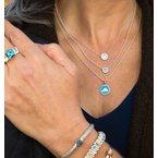 Martha's Vineyard Compass Rose Small Caribbean Blue Enamel Pendant