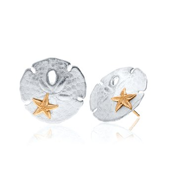 Sand Doller with 14k gold Starfish earrings