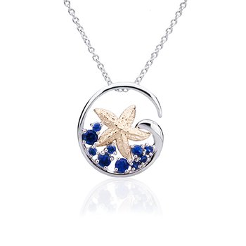 Starfish pendant with sapphires