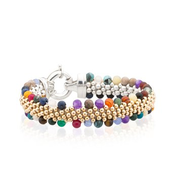 Dovera Reversible Multi Gemstone Woven bracelet
