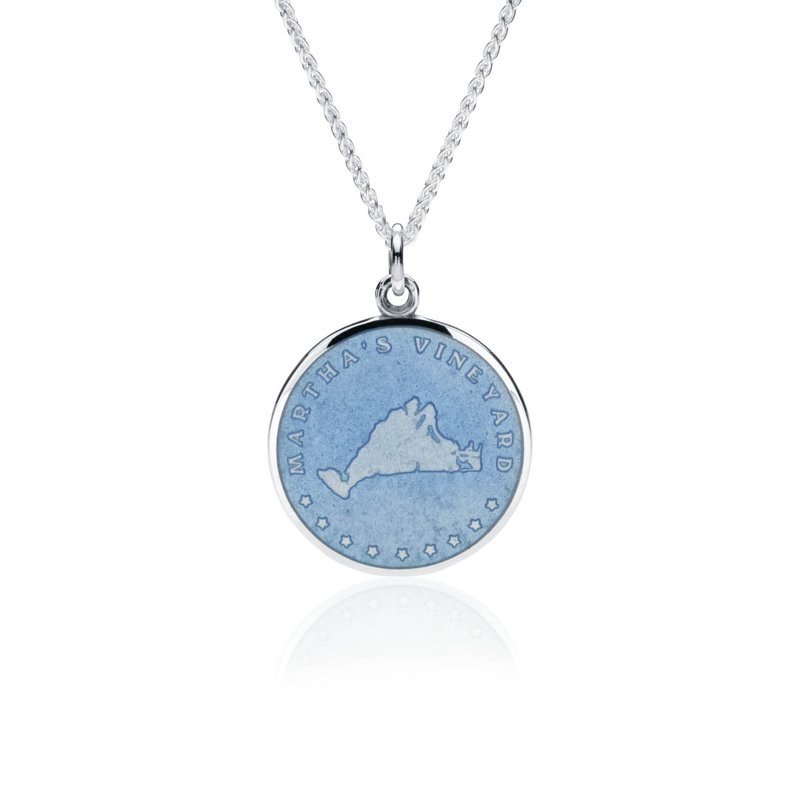 Martha's Vineyard french blue enamel pendant