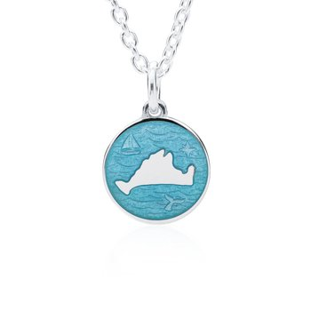 """Out at Sea"" Turquoise Enamel Martha's Vineyard Pendant"