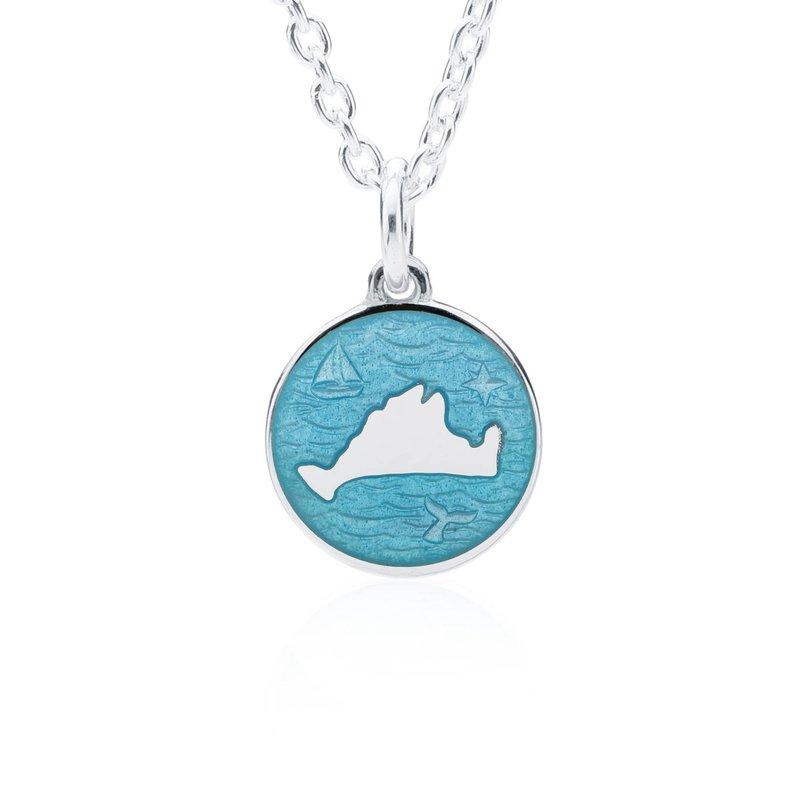 """Out at Sea"" Turquoise Enamel Martha's Vineyard Pendant"