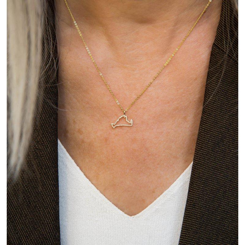 Diamond Martha's Vineyard Small Outline Necklace