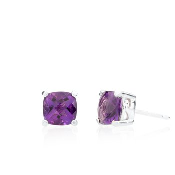 Wave Collection large earrings with amethyst