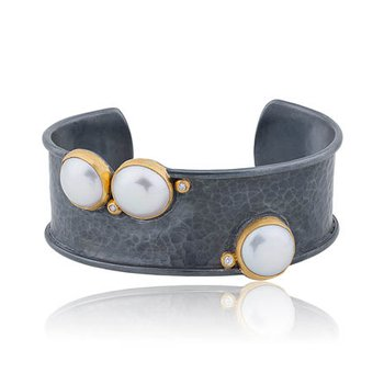 "Lika Behar ""Kristen"" Pearl and diamond cuff bracelet"
