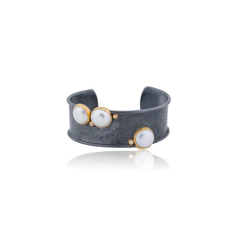 "Lika Behar ""Kristen"" Pearl and diamond cuff bracelet"