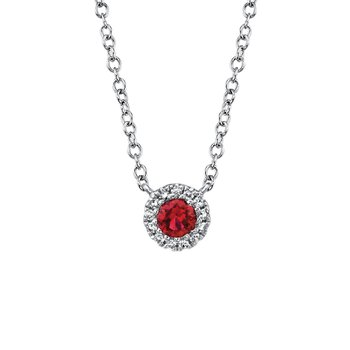 Ruby and Diamond Halo Necklace