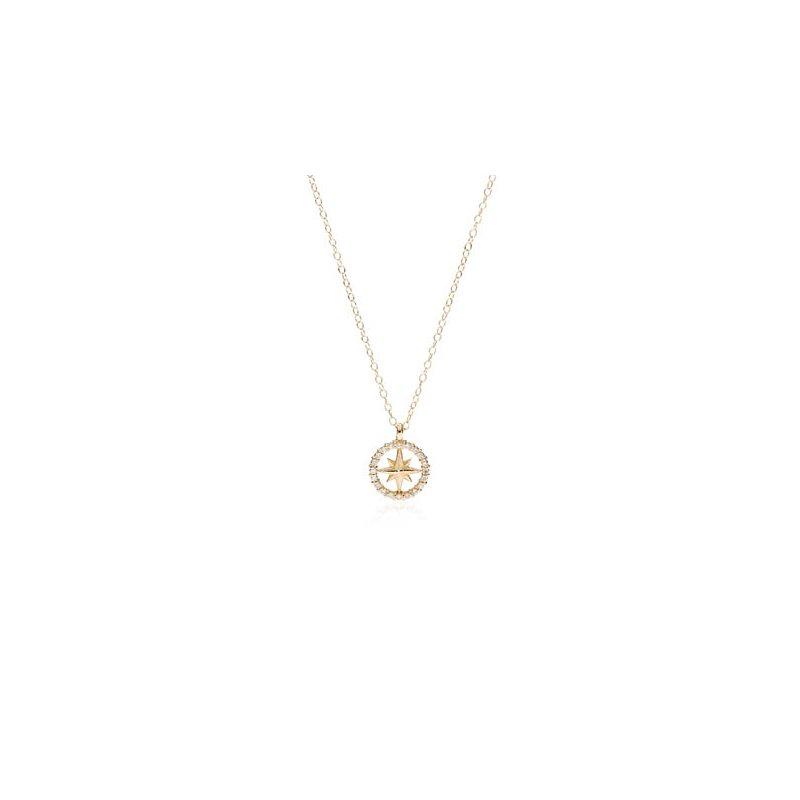 Mini Diamond Pave Compass Rose necklace