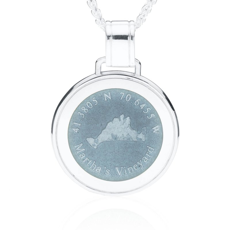 Martha's Vineyard Large Enamel Grey pendant