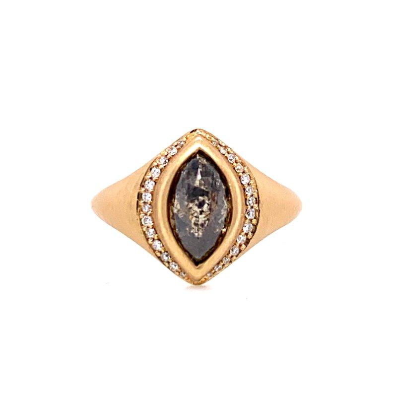 Salt and Pepper Diamond Halo Ring
