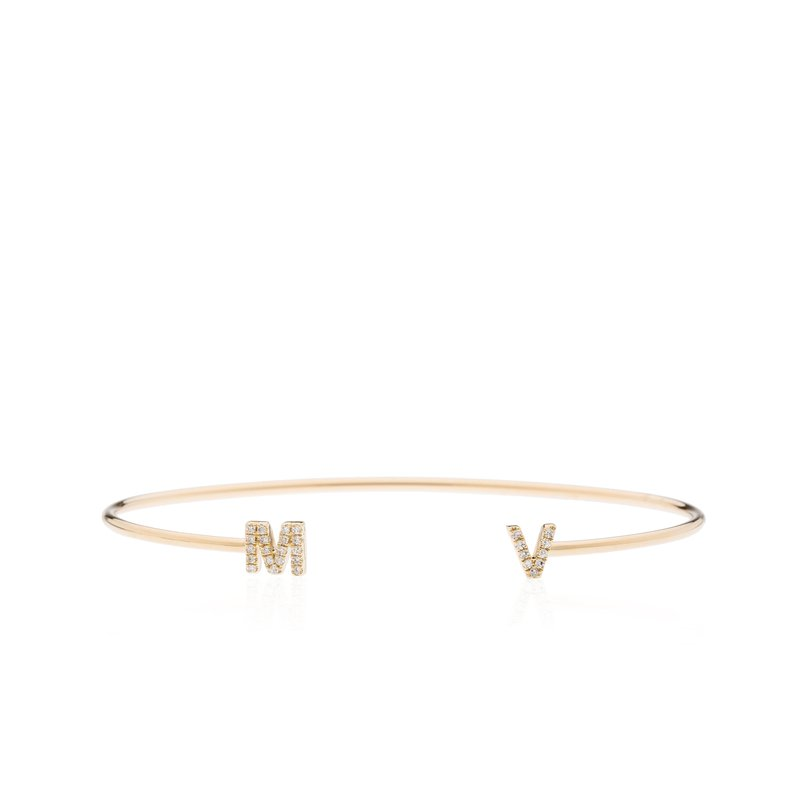 "Diamond Pave ""MV"" Initial Bracelet"