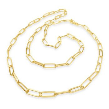 14K Long Paperclip Link Necklace