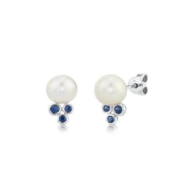Freshwater Pearl and Sapphire Stud Earrings