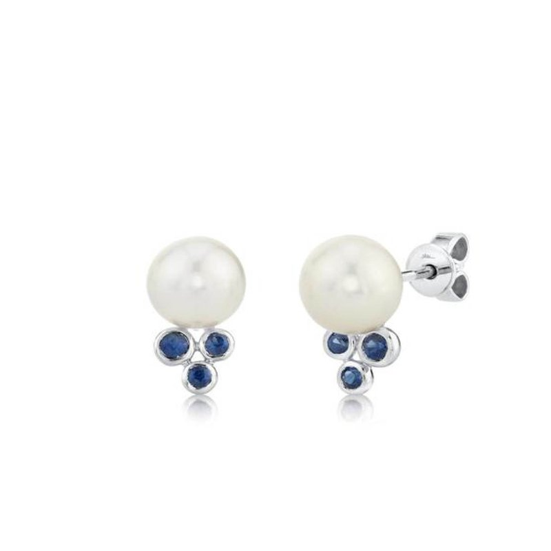 Freshwater Pearl and Sapphire Stud Earrings