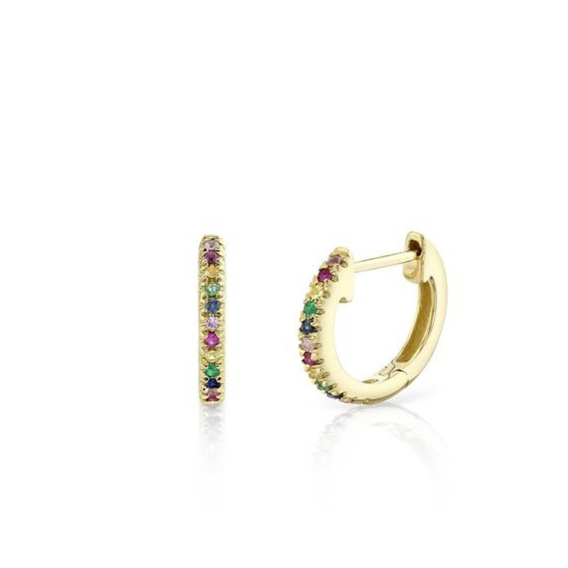 Multi Color Gemstone Huggie Earrings