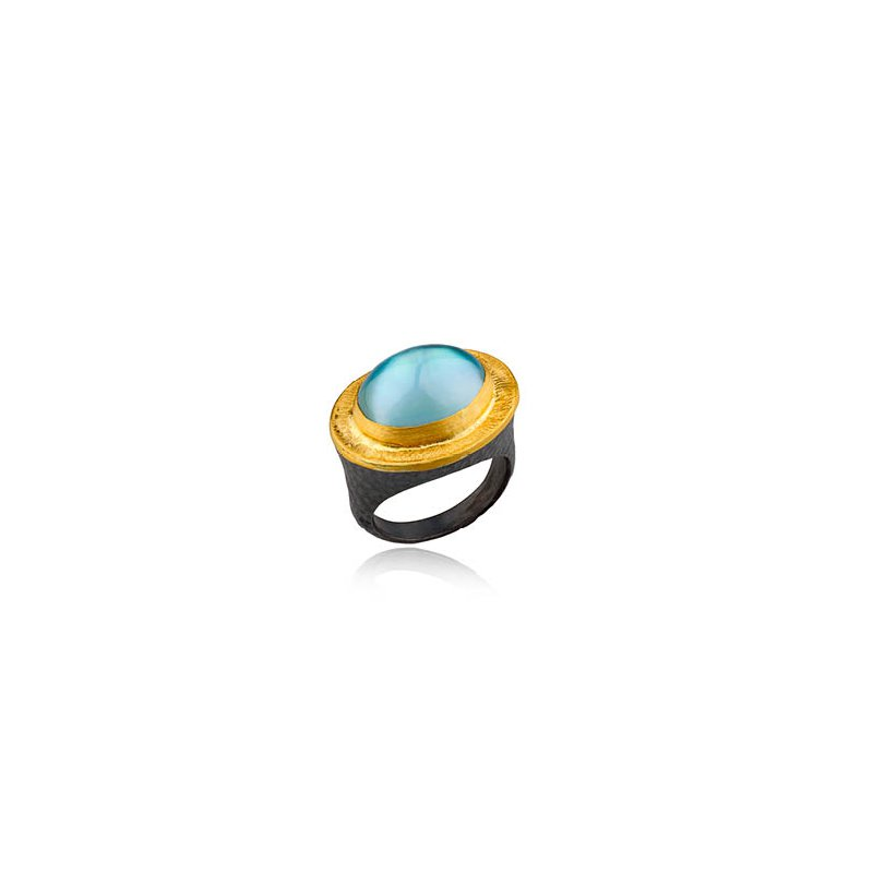"Lika Behar ""Pompei"" ring with blue topaz and mother of pearl doublet"