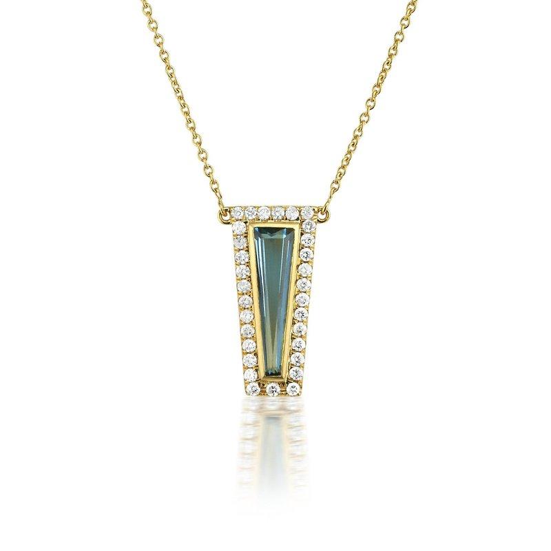 London blue topaz and diamond necklace by Theresa Kaz