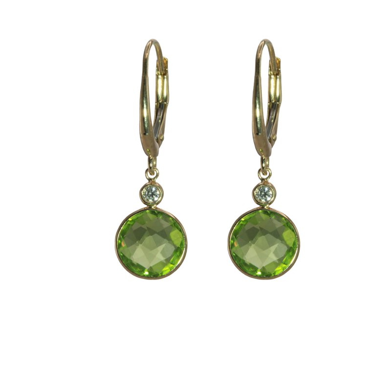Peridot and Diamond Drop Earrings