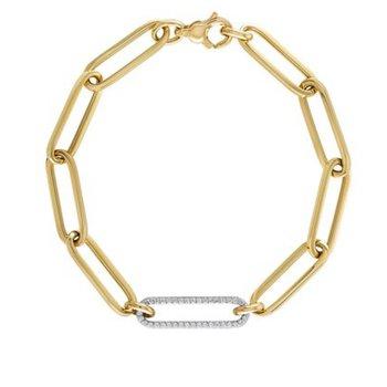 14K Paperclip Bracelet with Diamond Link