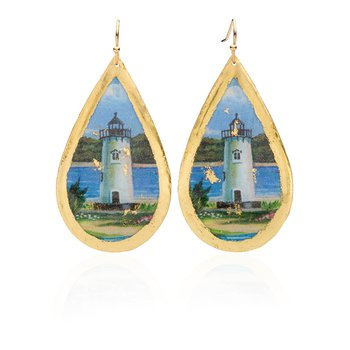 Edgartown Lighthouse Earrings featuring the artwork of Margot Datz