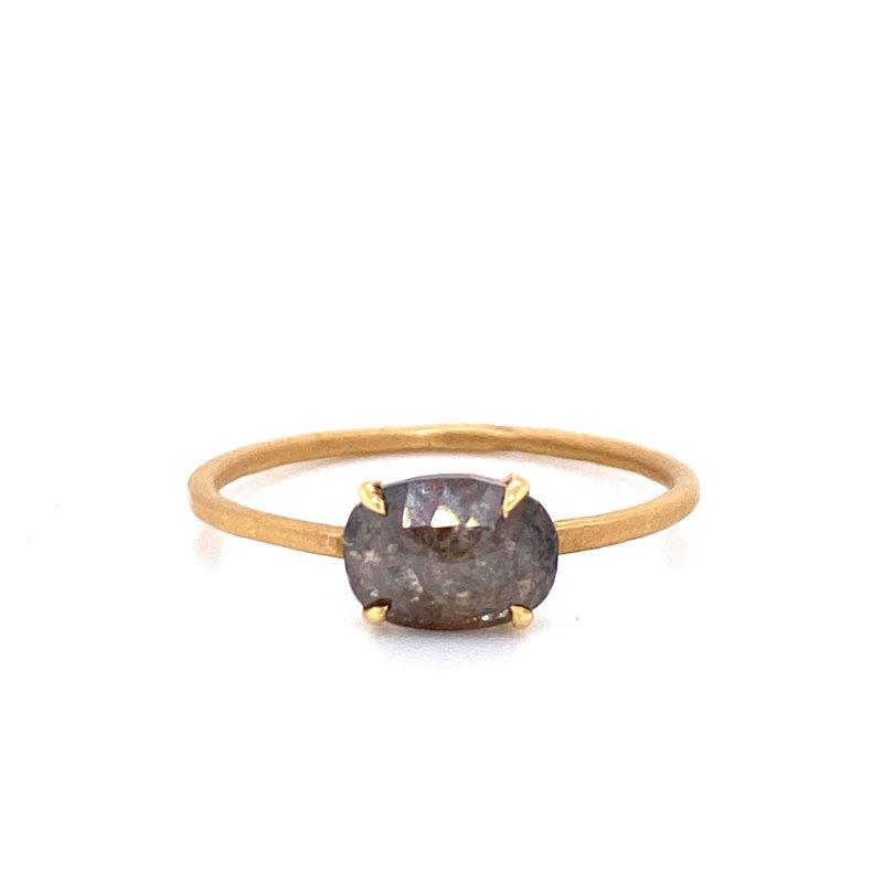 18K Oval Salt and Pepper Diamond Ring