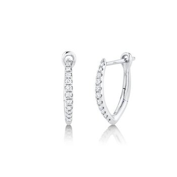"Pave Diamond ""V"" Huggie Earrings"