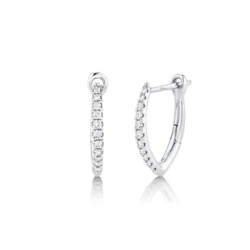"Pave Diamond ""V"" Huggie Earrings"