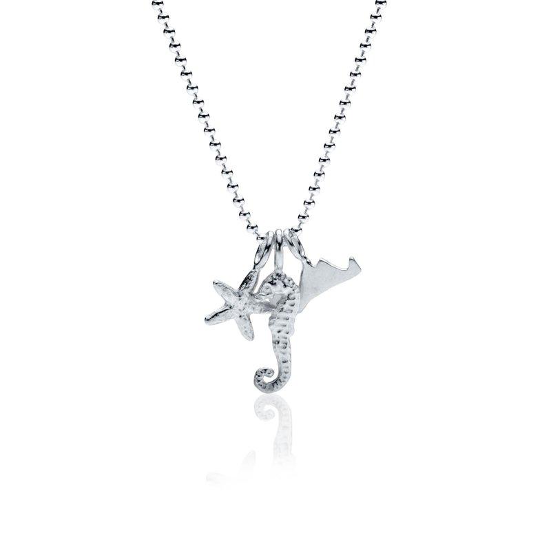 Mini Charm Necklace with Martha's Vineyard, Seahorse and Starfish