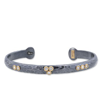 "Lika Behar ""Random Walk"" Oxidized Silver Diamond Bracelet"
