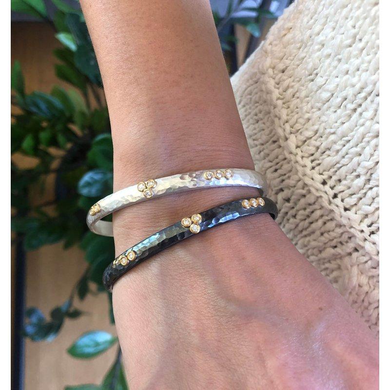 """Lika Behar """"Random Walk"""" Oxidized Silver Diamond Bracelet"""