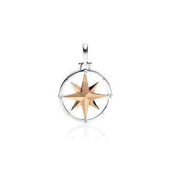 Small round Compass Rose pendant