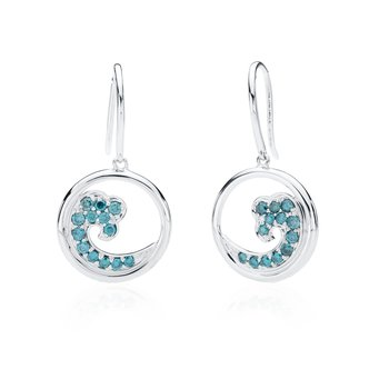Blue Diamond Wave earrings
