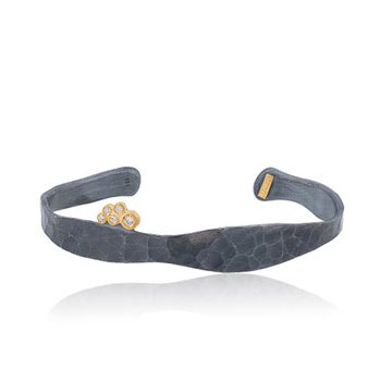 "Lika Behar ""Stockton"" hammered diamond open cuff"
