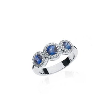 Sapphire and Diamond Triple Halo ring