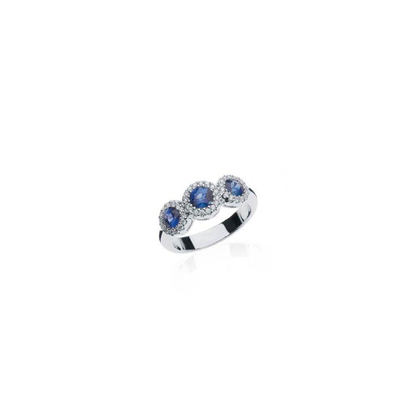 Sapphire and Diamond Triple Halo ring