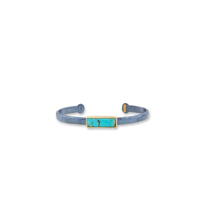 "Lika Behar ""My World"" cabochon Kingman turquoise open cuff bracelet"